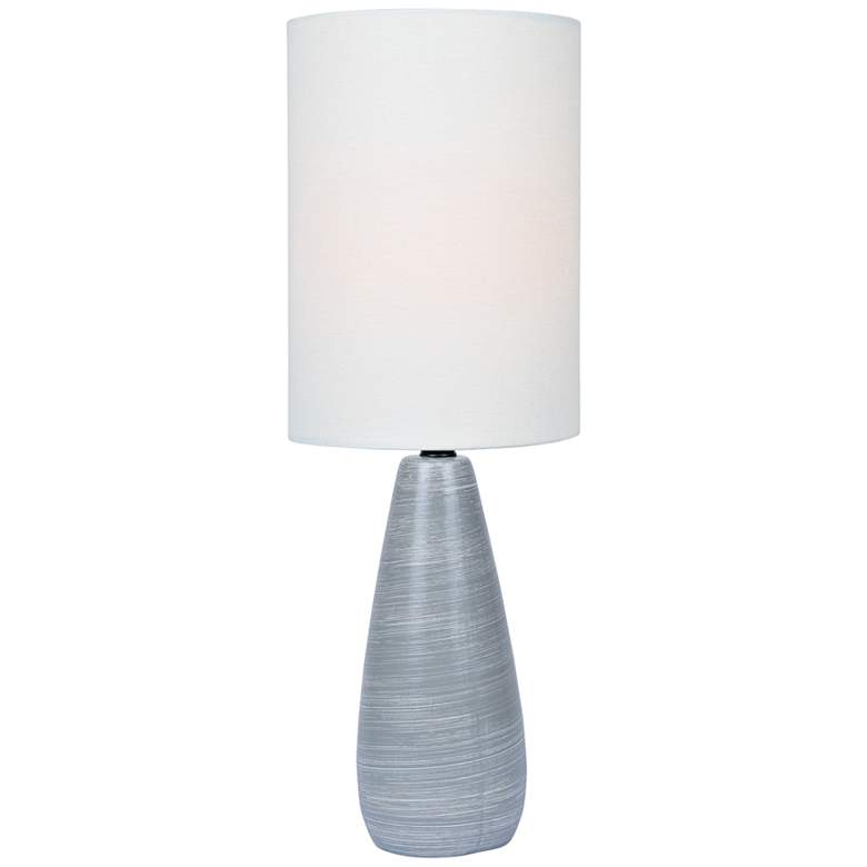 """Quatro 17""""H Gray Modern Accent Table Lamp with White Shade"""