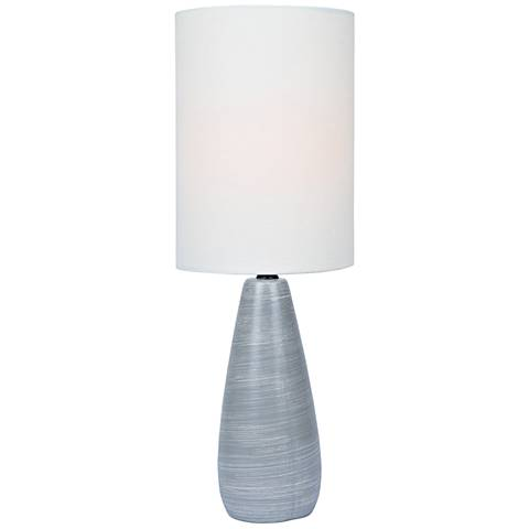 "Quatro 17""H Gray Modern Accent Table Lamp with White Shade"