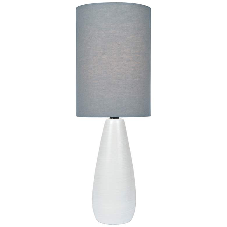 """Quatro 17""""H White Modern Accent Table Lamp with Gray Shade"""
