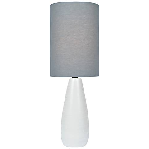 "Quatro 17""H White Modern Accent Table Lamp with Gray Shade"