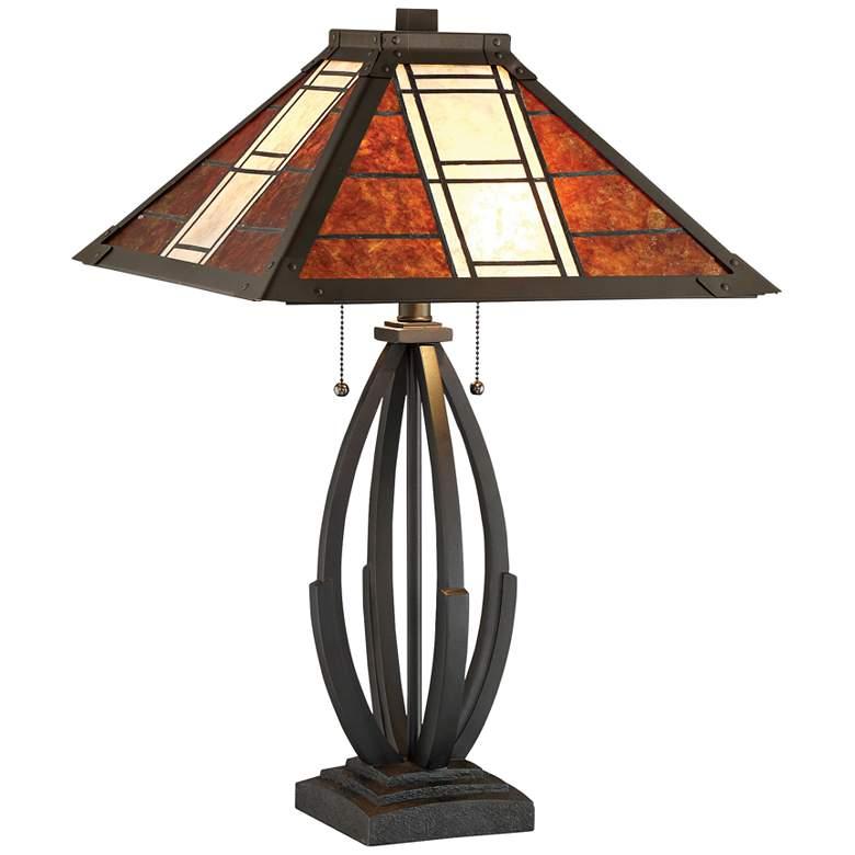 Lite Source Halden Dark Bronze Mica Shade Table Lamp