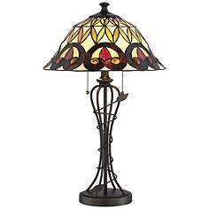 26 in 30 in tiffany table lamps lamps plus lite source odetta dark bronze tiffany style table lamp aloadofball Image collections
