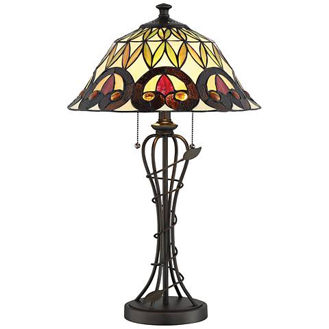 Lite Source Odetta Dark Bronze Tiffany-Style Table Lamp