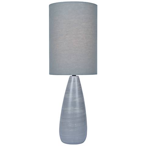 "Quatro 26 1/4""H Gray Modern Table Lamp with Gray Shade"