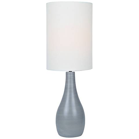 """Quatro 31"""" High Gray Modern Table Lamp with White Shade"""