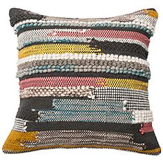 "Urban Boho Multicolor Textured 22"" Square Accent Pillow"