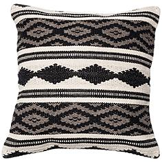 """Urban Boho Gray and White Tribal 22"""" Square Accent Pillow"""