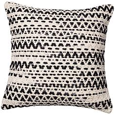 "Urban Boho Gray and Black Zig Zag 22"" Square Accent Pillow"