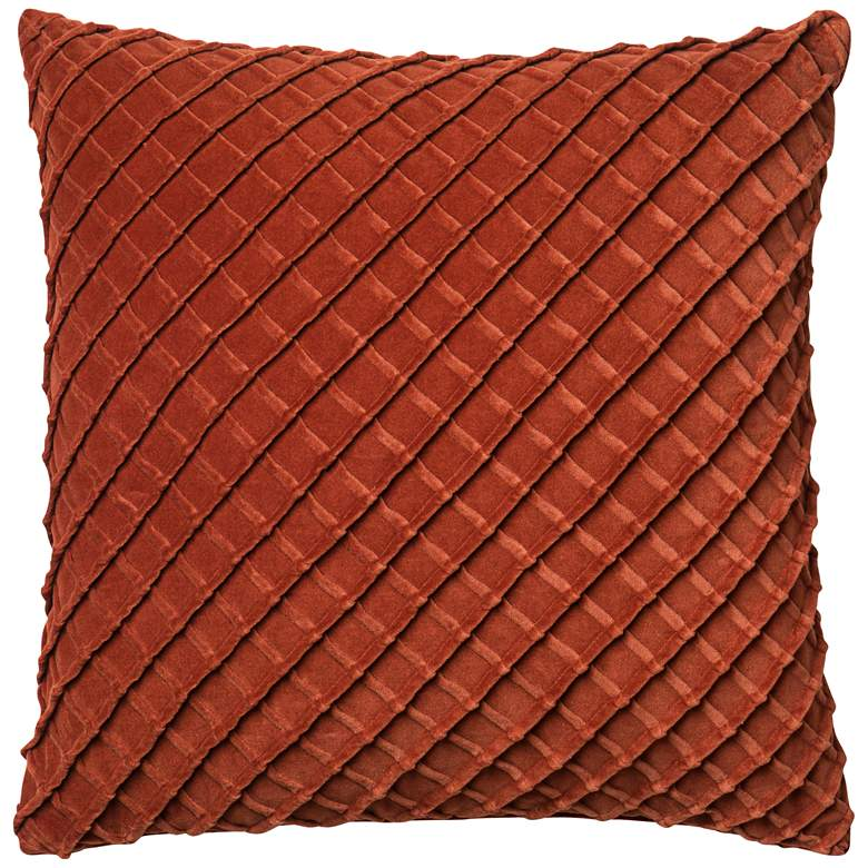 "New Classics Rust 22"" Square Crosshatch Velvet Throw Pillow"