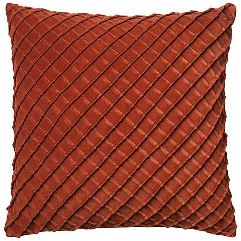 "New Classics Rust 22"" Square Crosshatch Velvet Throw Pillow"
