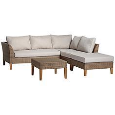 La Jolla 5-Piece Wicker Sectional Sofa with Firepit