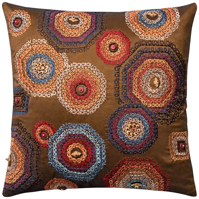 "Global Traveler Multicolor Mandala 18"" Square Accent Pillow"