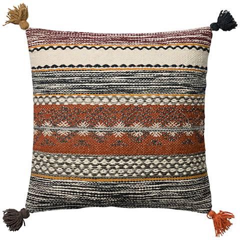 """Global Traveler Rust Tribal Tassel 22"""" Square Accent Pillow"""