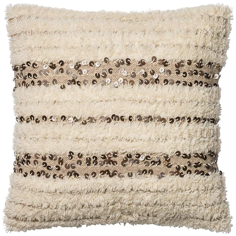 "Coastal Chic Soft Ivory 22"" Square Hand-Woven Accent"