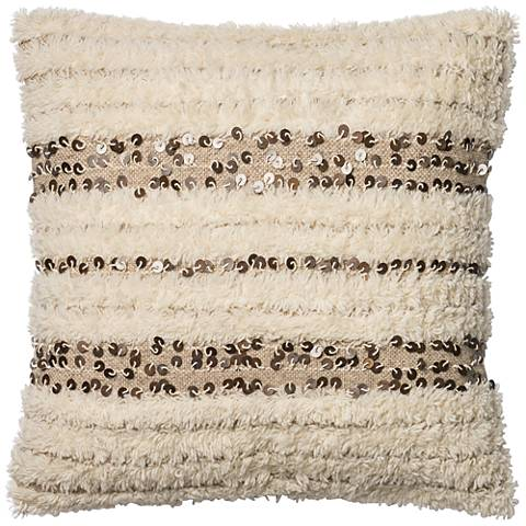 """Coastal Chic Soft Ivory 22"""" Square Hand-Woven Accent Pillow"""