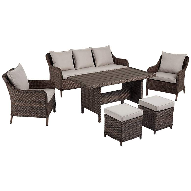 Woodlake Brown Wicker 6-Piece Outdoor Seating Set