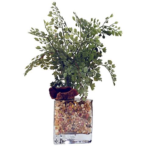 "Maiden Hair Fern 14 1/2""H Faux Plant in Glass Vase"