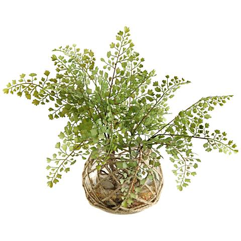 "Flat Iron Fern 17""W Faux Plant in Glass Bowl"