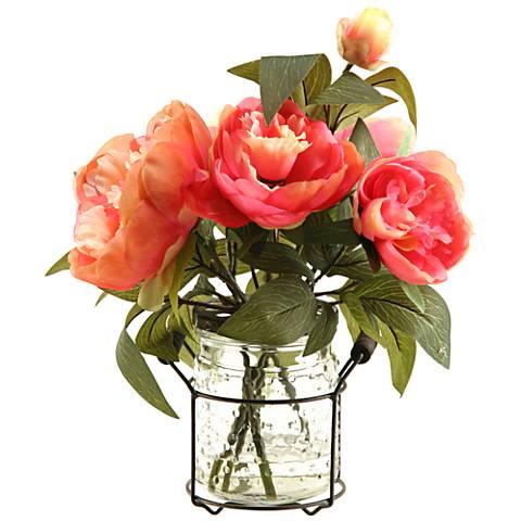 """Pink Peonies 13 1/2""""H Faux Flowers in Glass Jar"""