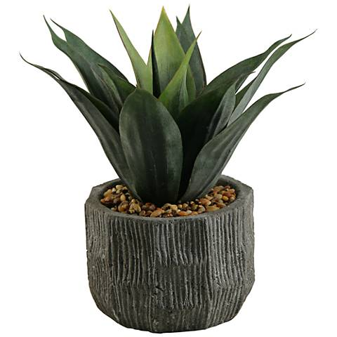 "Red and Green Agave 13"" High Faux Plant"