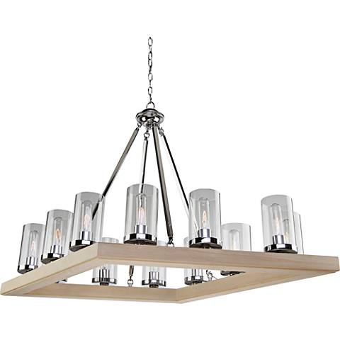 "Canyon Creek 25""W Natural Pine Wood 12-Light Chandelier"