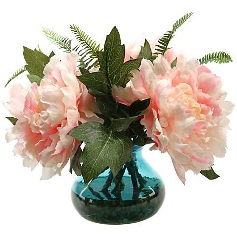 """Pink Peonies 14""""W Faux Flowers in Vintage Blue Glass Vase"""