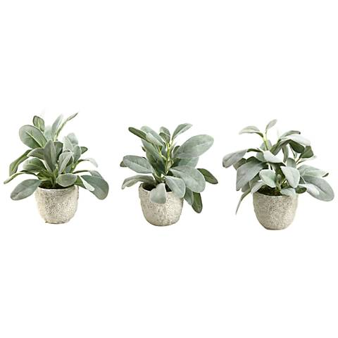 "Frosted Lamb's Ear 9"" High Faux Plant in Pot Set of 3"