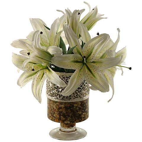 """White Lilies 15""""H Faux Flowers in Glass Vase"""