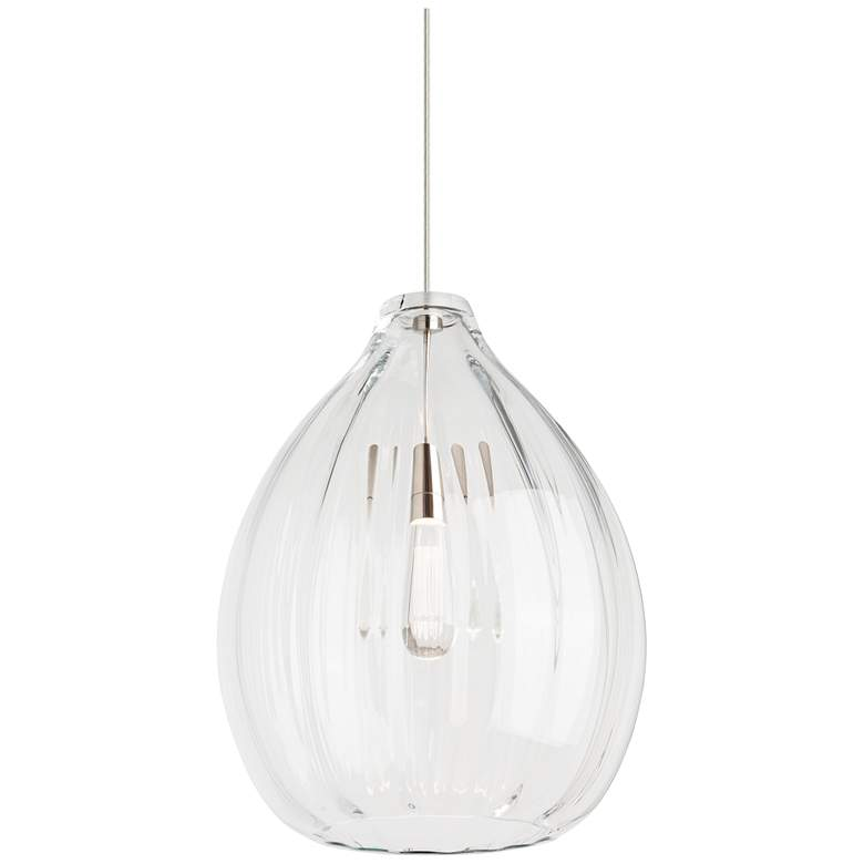 "Harper 16 3/4"" Wide Clear Glass Satin Nickel Pendant Light"
