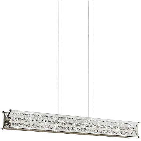 "LBL Questa 50"" Wide Satin Nickel LED Island Pendant"