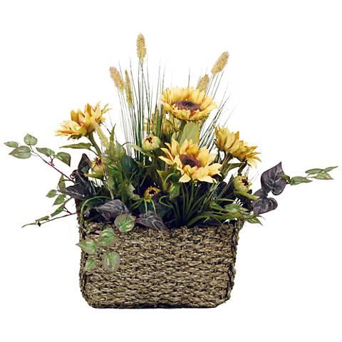 """Sunflowers 28 1/2"""" Wide Faux Flowers in Basket"""