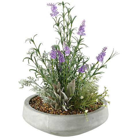 """Lavender and Mixed Herbs 21""""H Faux Plant in Bowl"""