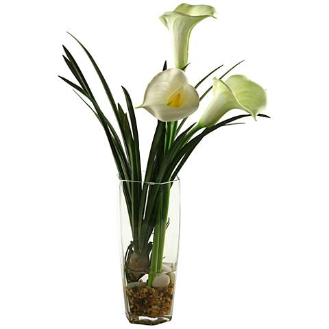 "White Calla Lilies 27 1/2""H Faux Flowers in Glass Vase"