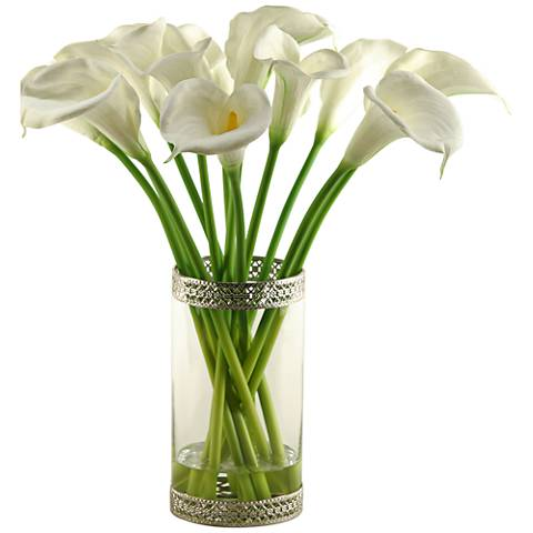 "White Calla Lilies 23""H Faux Flowers in Glass Cylinder"