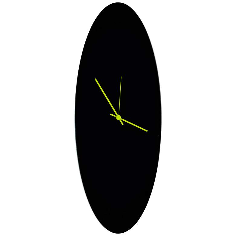 "Blackout Green 22"" High Aluminum Ellipse Wall Clock"