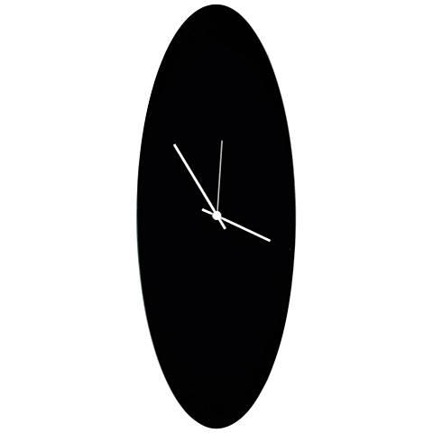 "Blackout White 22"" High Aluminum Ellipse Wall Clock"