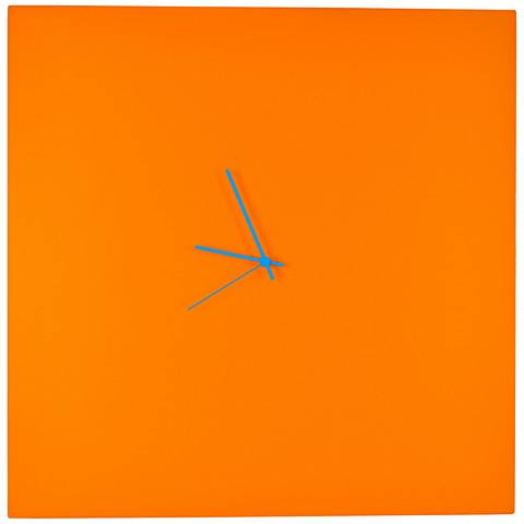 """Orangeout Aluminum with Blue Hands 23"""" Square Wall Clock"""