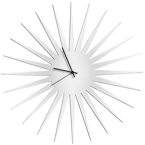 "MCM White with Black 23"" Round Starburst Wall Clock"