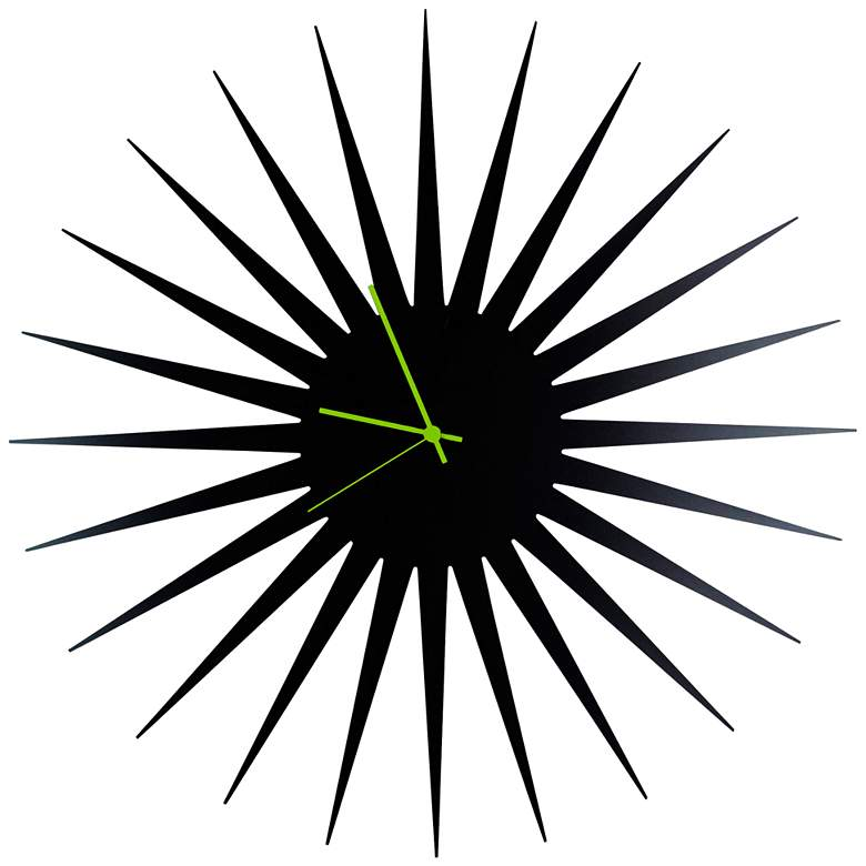 "MCM Black with Green 23"" Round Starburst Wall Clock"