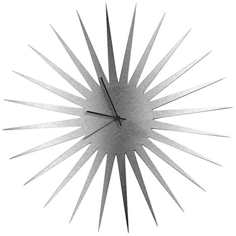 "MCM Silver with Black 23"" Round Starburst Wall Clock"