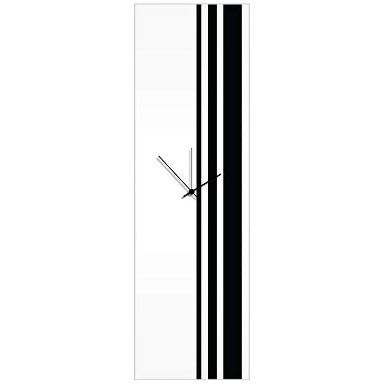 "Triple Stripe Gloss Black 30"" High Rectangular Wall Clock"