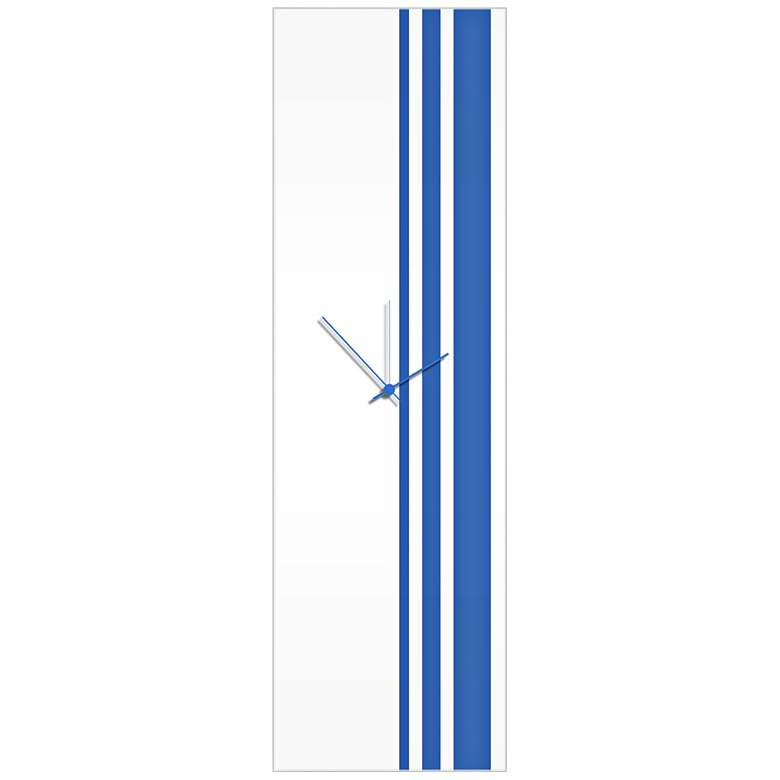 "Triple Stripe Gloss Blue 30"" High Rectangular Wall Clock"