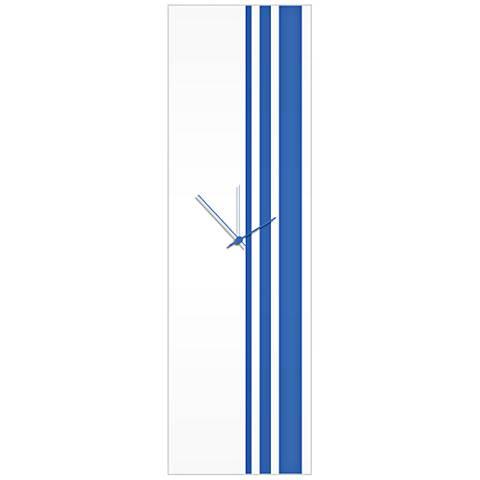 "Triple Stripe Gloss Blue 30"" High Rectangular Wall Clock"