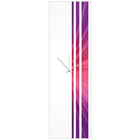 "Triple Stripe Purple Silk 30"" High Rectangular Wall Clock"