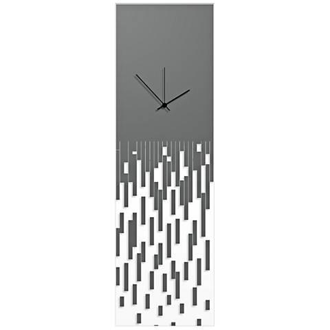"Pixelated Surreal Gray 30"" High Rectangular Wall Clock"