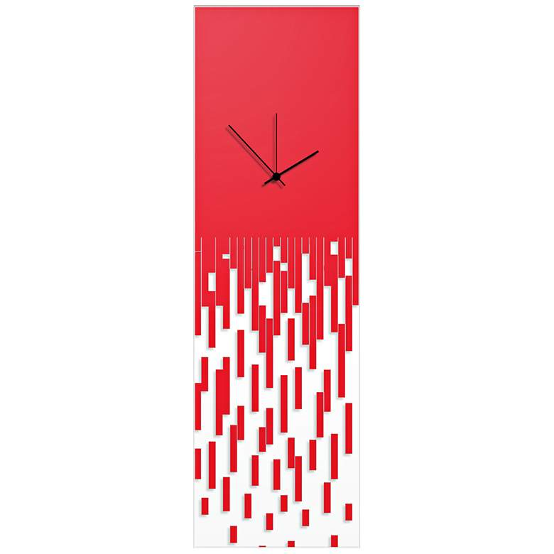 "Pixelated Surreal Red 30"" High Rectangular Wall Clock"