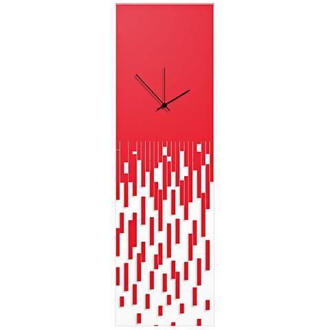 "Pixelated Surreal Red 30"" High Rectangular Wall Clock"