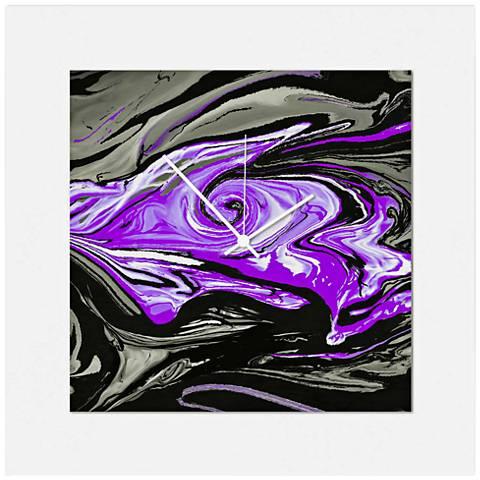 "Swirl Gloss Purple 22"" Square 2-Layer Abstract Wall Clock"