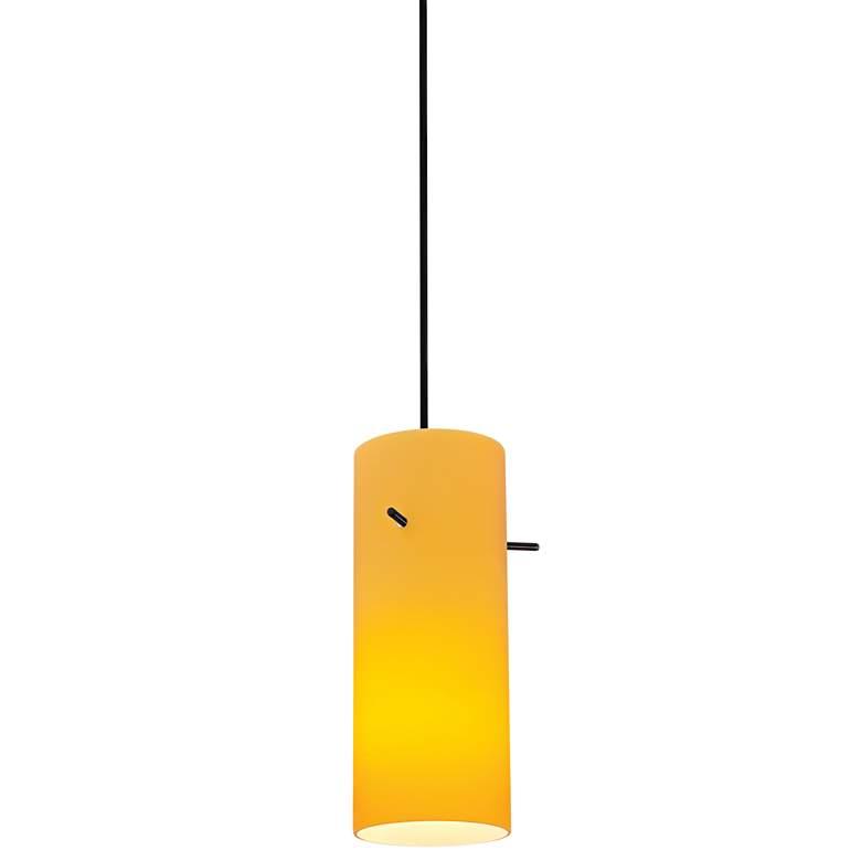 "Cylinder 4"" Wide Amber Glass LED Mini Pendant"