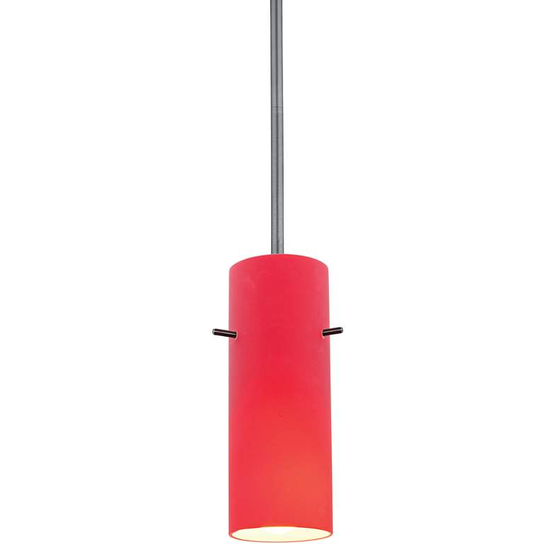 """Cylinder 4"""" Wide Red Glass LED Mini Pendant"""